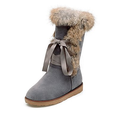 RTRY Zapatos De Mujer Suede Otoño Invierno Confort Novedad Botas De Nieve Botas De Moda Botas De Tacón Plano Ronda Toe Botas Mid-Calf Feather Lace-Up Para US9 / EU40 / UK7 / CN41