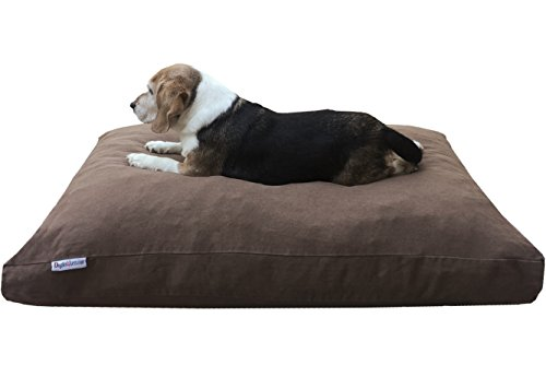 Dogbed4less Large Memory Foam Dog Bed Pillow with Orthopedic Comfort, Waterproof Liner and Durable Pet Bed Denim Cover 41'X27', Brown