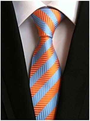 MINDENG New Classic Striped Tie Jacquard Woven Men's Suits Ties Necktie Orange
