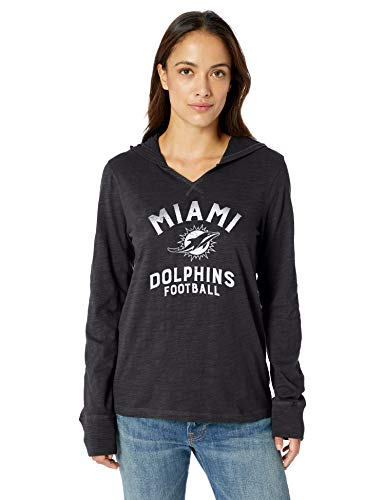 OTS NFL Miami Dolphins Women's Jersey Hoodie, Distressed Cedarville, Small