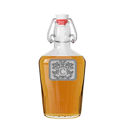 Personalized Glass Swing Top Pocket Flask - Monogram Initial Pewter Engraved Crest - Novelty for Weddings, Birthdays or any Special Occasions - Pick Your Letter (C, 8.5OZ)