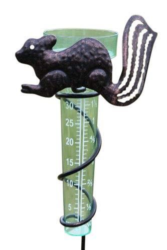 Regenmesser mit dekorativer Eichhö rnchen-Halterung, mit Regenauffä nger aus Kunststoff. Olive Grove