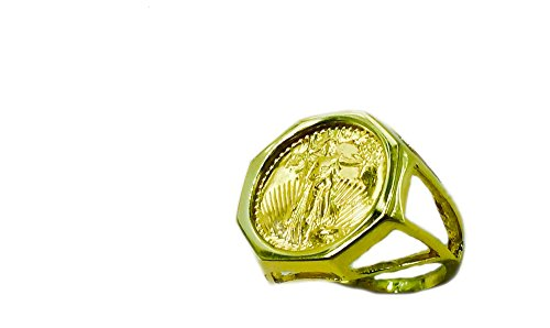22Kt 1/10Oz Lady Liberty Coin Set In 14Kt Solid Yellow Gold Ladies 20Mm Coin Ring-Random Year Coin ()