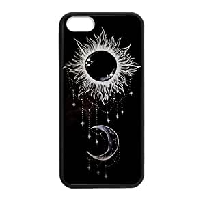 Canting_Good Black Sun and Moon Custom Case Shell Skin for iPhone 5 5S TPU (Laser Technology)
