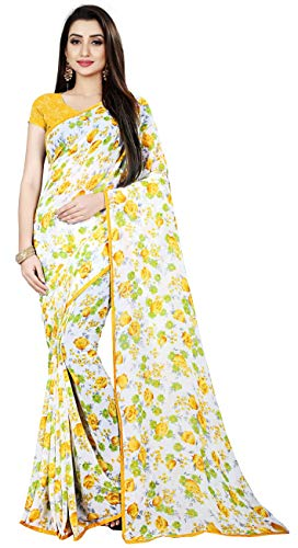Print Saree - Women's Faux Georgette Floral Print Saree White & Yellow 6.30 m With Blouse Piece by Kalaa Varsha