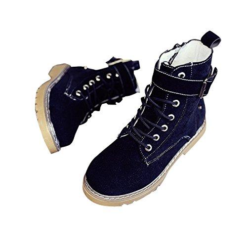 Chers Temps Femmes Plateforme Cheville Bottes Boucle Sangle Côté Fermeture À Glissière Chunky Talon Bas Lacets Chaussons Chaussures Noir