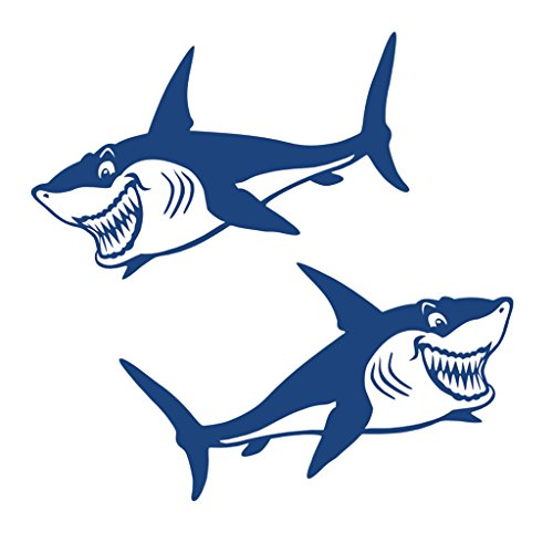 MagiDeal 2pcs Tiburón Vinil Calcomanías Pegatinas Kayak Canoe Kayak Barco Gráficos Accesorios