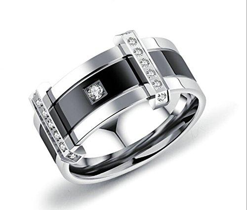 Tacori Baguette Ring - ANAZOZ Jewelry Stainless Steel Ring for Men Embedded Cz Black Size 11