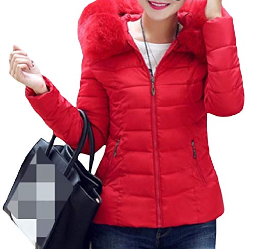Howme-Women Thick Hood Short Mini Stylish Warm Lightweight Zip Down Coat Red