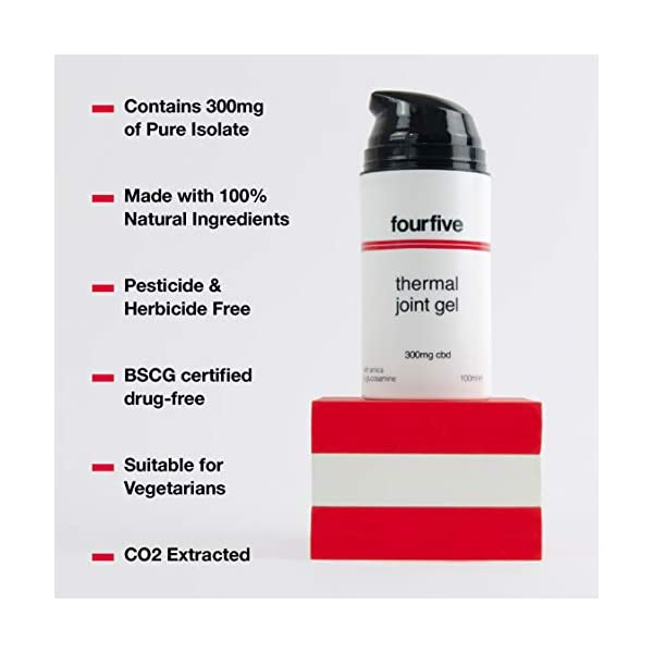 fourfive 300mg CBD Joint Gel High Stength for Joint Pain Relief with Thermal Relieving Effect 100ml Pump Dispenser