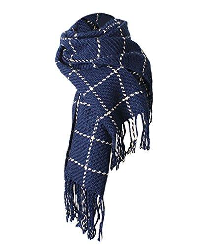 Deley Cuadros Unisex Invierno Simplicidad A Mujer Con Moda Otoño Hombre  Azul Sencillo Franja Bufandas De ... 2fb660dc19c