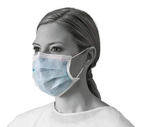 Medline NON27365 Basic Procedure Face Masks With Earloops, Blue (Case of 300)