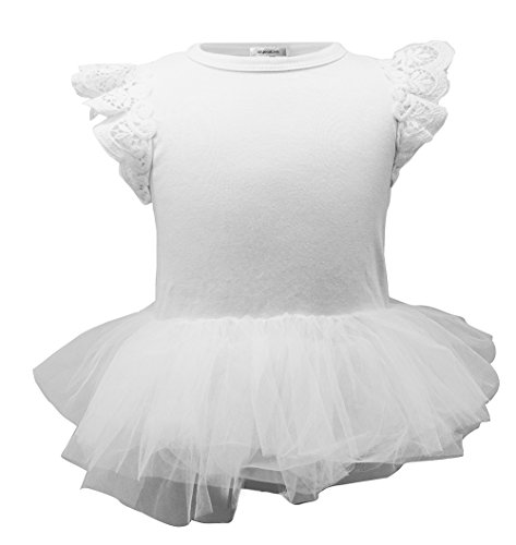 stylesilove Baby Girl Cap Sleeve Ruffle Cotton Romper with Tulle Tutu Skirt (80/6-12 Months, White/Cap Sleeves)