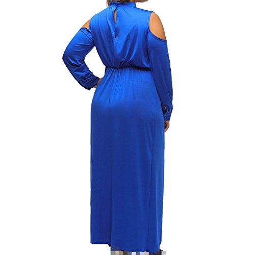 Baile Azul Alta Vestido En Elegante Cintura Boda Cumpleaños Manga Larga Banquete Mujeres V Atractiva Cuello Chica wxawvqZ