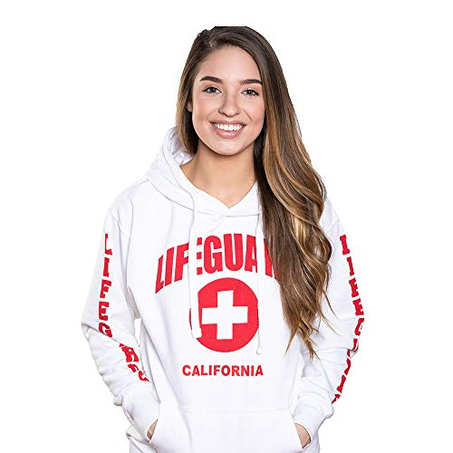 LIFEGUARD Officially Licensed Ladies California Hoodie Sweatshirt Apparel for Women, Teens and Girls White