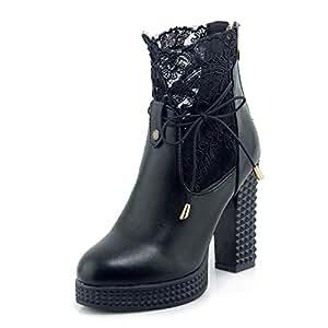 ZHZNVX Zapatos de Mujer Sintéticos Botas de Moda de otoño e Invierno Botas de tacón Grueso Botines de Punta Redonda/Botines Blancos/Negros / Fiesta y Noche: ...