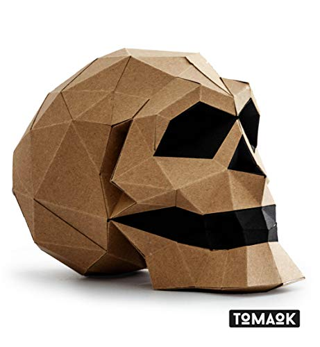 Skull Pre-cut Paper Sculpture Kit to assemble yourself Papercraft Head of Death, 3D Puzzle DIY Assembly for decoration, Kraft Paper Quality Cardboard Thick and Ecological 100% Recycled - TOMAOK ()