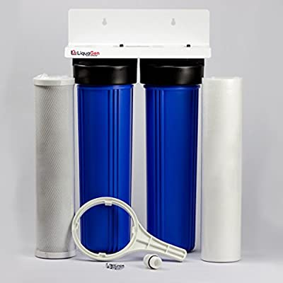 "LiquaGen - 2 Stage City & Well Water Whole House Water Filtration System w/20"" Sediment & Carbon Filter"