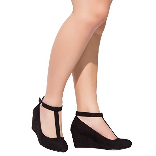 Image of Luoika Women's Wide Width Wedge Shoes - Mary Jane Heel Pump T-Strap.