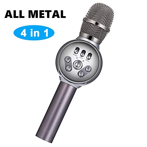 Wireless Karaoke Microphone,INSMART 4-in-1 Portable Handheld Karaoke Mic Karaoke Player Home Party Birthday Speaker Machine with Multi-Color LED Lights Compatible iPhone/Android/iPad/,Apple Watch,PC