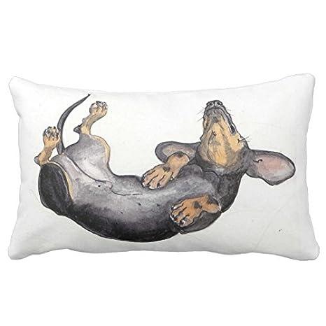 Perro salchicha de dormir cuello almohada 20 en * 30 en 2 lados ropa de cama sofá funda para cojín funda de almohada Funda de almohada: Amazon.es: Hogar