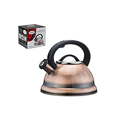 Premium Whistling Tea Kettle with Mesh Tea Strainer, Copper Color Finish - 2.8 Liters