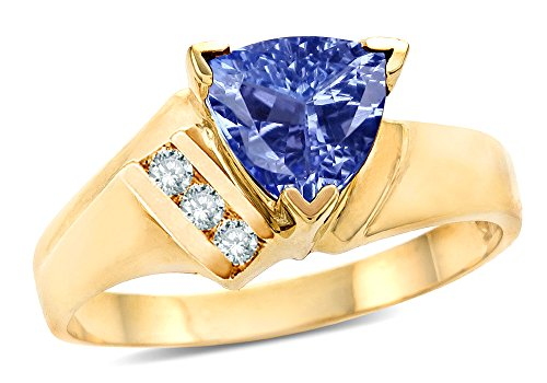 Star K Genuine Tanzanite Triangle Trillion 7mm Contemporary Modern Designer Ring 10k Yellow Gold Size 7