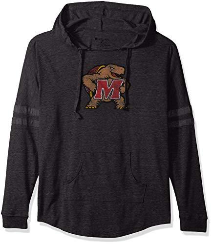 Ouray Sportswear NCAA Maryland Terrapins Women's Hooded Low Key Pullover Sweatshirt, Vintage Black/Vintage Grey, Small Black Ncaa Hooded Sweatshirt