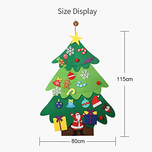 bzuitur Felt Tree, 3.7ft DIY Christmas Tree with Ornaments Wall Decor with Hanging Rope for Kids Xmas Childrens Day Gifts Home Door Wall Decoration
