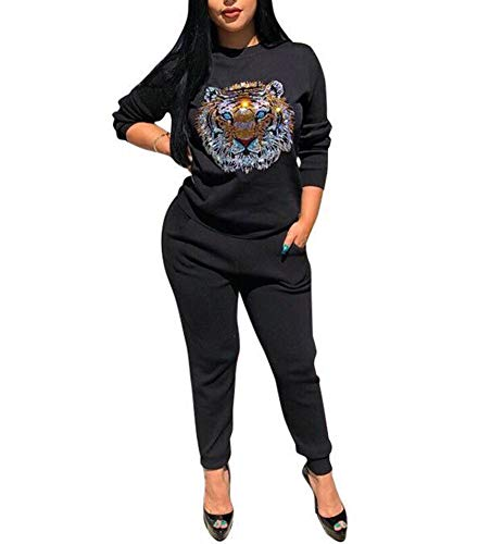 Sweatsuit Shirt Pants - Women's 2 Pieces Outfits - Hot Drilling Tiger Head Long Sleeve T Shirt Tops Sweatpants Set Sweatsuits Black XL