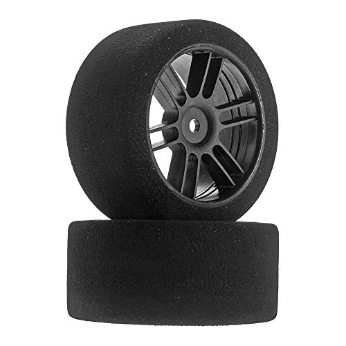 Johns Bsr Racing 1/10 30mm Nitro Touring Foam Tires, Mounted, 38 Rear, Black Wheels (2), BXRF3038B