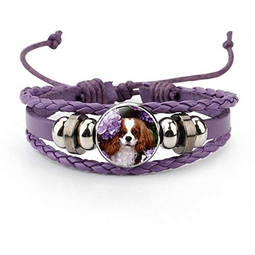 Lover Charms Italian Animal - Giwotu Womens Lovely Pet Dog Glass Leather Bracelet Black Handmade Multi Layer Male & Female Accessary Animal Jewelry for Dog Lovers Purple