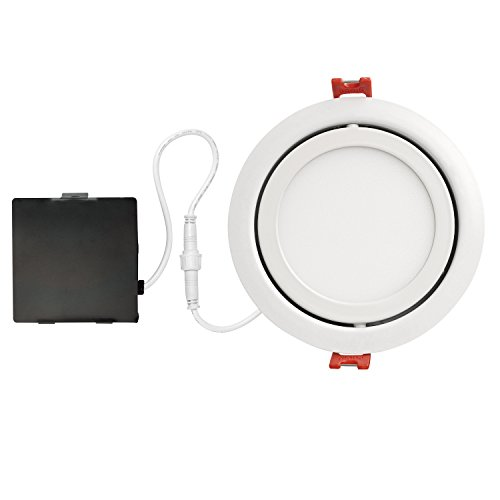 Cheap Globe Electric 4″ LED Integrated Ultra Slim Swivel Recessed Lighting Kit, 9 Watts, Energy Star, IC Rated, Dimmable, Damp Rated, White Finish, 91071