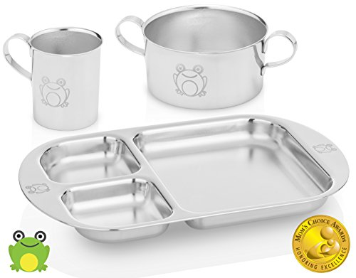 Kiddobloom Kids Stainless Steel Dinnerware Set, Frog (1 Kids Bowl, 1 Kids Cup, 1 Kids Divided Plate). Safe and Non-Toxic Tableware. Beautiful Keepsake for Baby, Toddler, and Kids.
