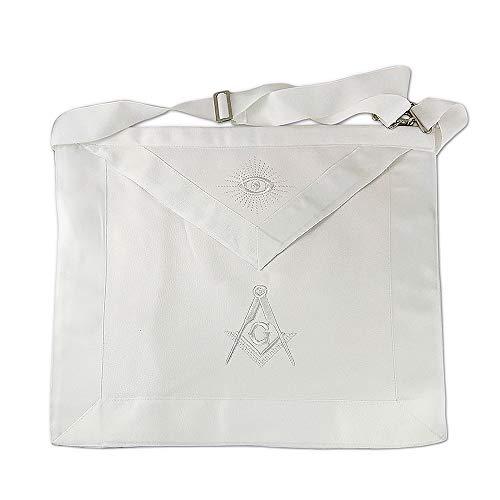 Master Mason Masonic Apron Square & Compass White Ribbon Borders