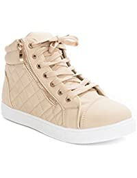 Women's Leatherette Quilted Zipper Lace Up High Top Sneakers