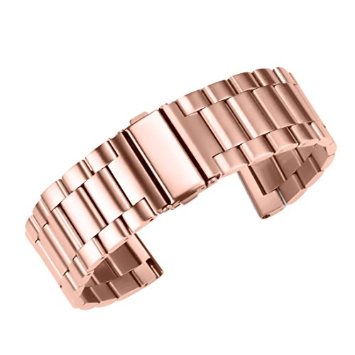22mm Premium Brilliant Rose Gold Metal Watch Band Replacement Wristbands Brushed Solid Stainless Steel