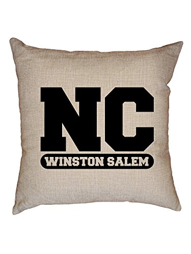 Hollywood Thread Winston Salem, North Carolina NC Classic City State Sign Decorative Linen Throw Cushion Pillow Case with - North Classic Sofa Carolina
