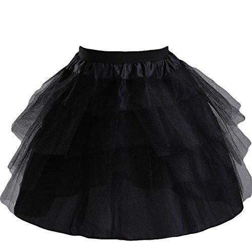 Manfei Girls 3 Layers Wedding Flower Girl Petticoat Slips Underskirt Black One Size by Manfei