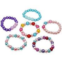 Mondada Kids Little Girls Beaded Bracelets Party Favor Pretend Play Jewelry Sweet Gifts for Play Dress Up