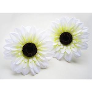 "(2) Silk White Big Sunflowers sun Flower Heads , Gerber Daisies - 5.5"" - Artificial Flowers Heads Fabric Floral Supplies Wholesale Lot for Wedding Flowers Accessories Make Bridal Hair Clips Headbands Dress 3"