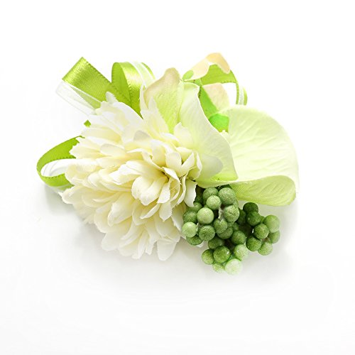 MGStyle Boutonniere Corsage Lapel Pin Brooch For Men - Phalaenopsis Flower - Green - Silk with Deluxe Gift (Phalaenopsis Corsage)