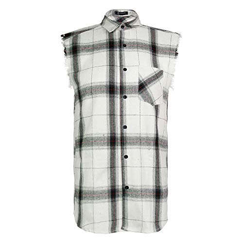 (MCULIVOD Sleeveless Plaid Snap-Front Shirt for Men, Cowboy Button Down Shitrs White,XX-Large)