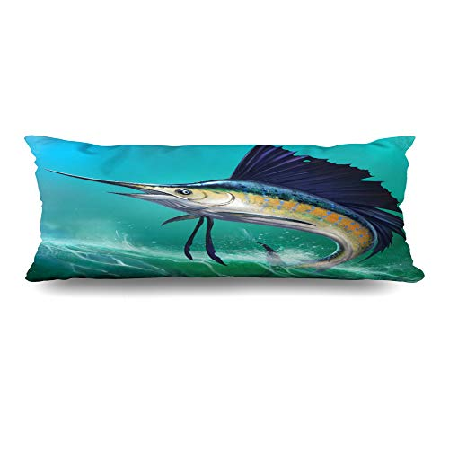 (Ahawoso Body Pillows Cover 20x54 Inches Realistic Blue Marlin Sailfish On Waves Jump Nature Food Drink Jumping Swordfish Water Aquatic Decorative Cushion Case Home Decor Pillowcase)