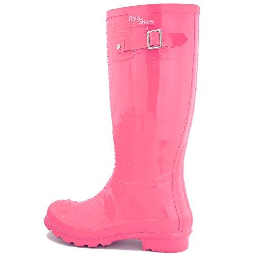 DailyShoes Damen Mittelkalb Kniestrumpf Hunter Regen Round Toe Rainboots Rosa
