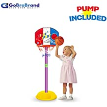 GoBroBrand Toddler Basketball Hoop - Kids Easy Score Basketball Game with Adjustable Height - 6 Height Settings & Pump Included - for Boys & Girls Age 3 - 12 Years Old