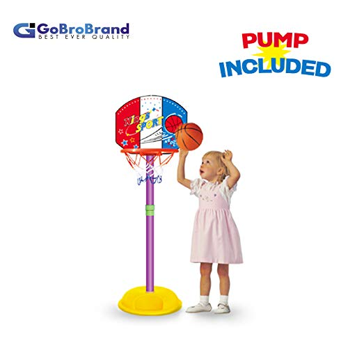 Easy Score Basketball Set Toys - GoBroBrand Toddler Basketball Hoop - Kids Easy Score Basketball Game with Adjustable Height - 6 Height Settings & Pump Included - for Boys & Girls Age 3 - 12 Years Old