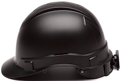 Vented Carbon Fiber - Cap Style Hard Hat, Adjustable Ratchet 4 Pt Suspension, Durable Protection safety helmet, Black Matte Graphite Pattern Design, by Tuff America