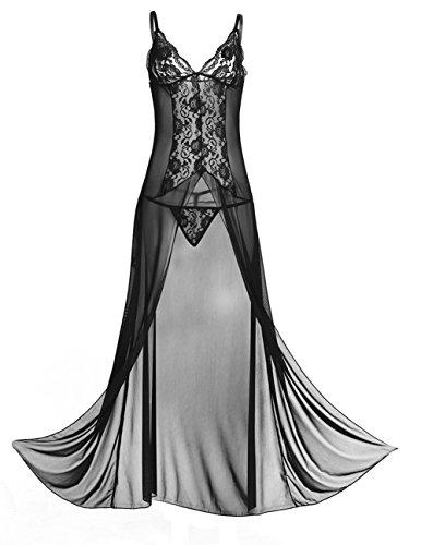 iiniim Women's Lingerie See-Through Lace Split Babydoll Nightwear Dress with G-String Black L