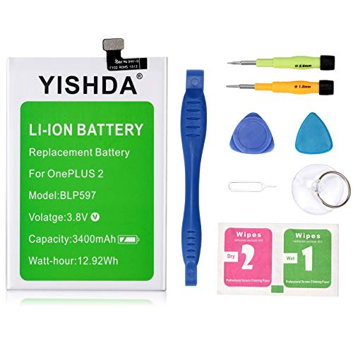 OnePlus Two Battery, YISHDA 3400mAh BLP597 Replacement Battery for Oneplus 2 with Installation Tools   One Plus Two Spare Battery [18 Month Warranty] (Oneplus One Battery Pack)